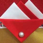 Red and White Hankie With Red Flap and Pin